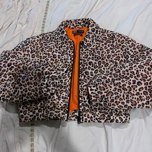 ZARA women's leopard bomber jacket